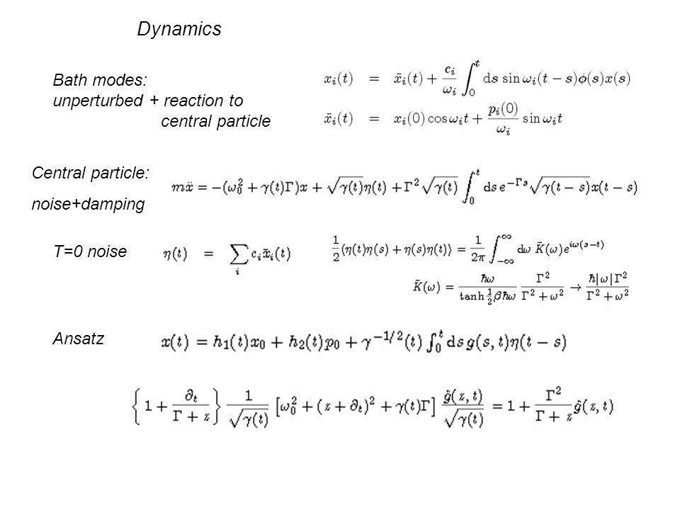 Bath modes: unperturbed + reaction to central particle Dynamics Central particle: noise+damping T=0 noise Ansatz