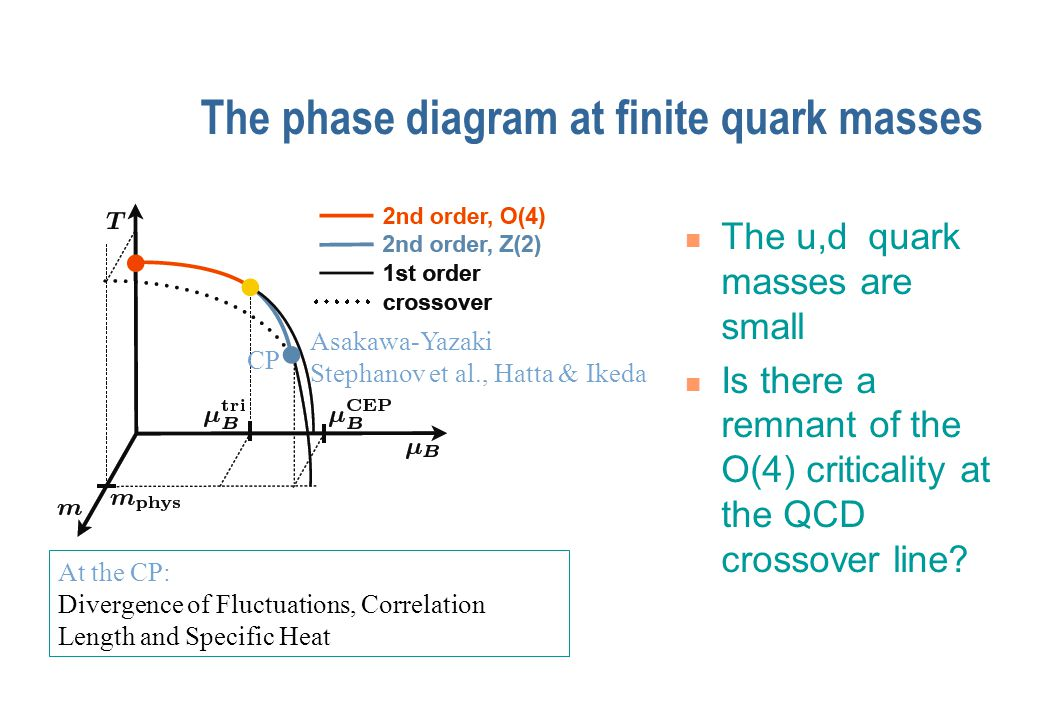 The phase diagram at finite quark masses Can the QCD crossover line appear in the O(4) critical region.