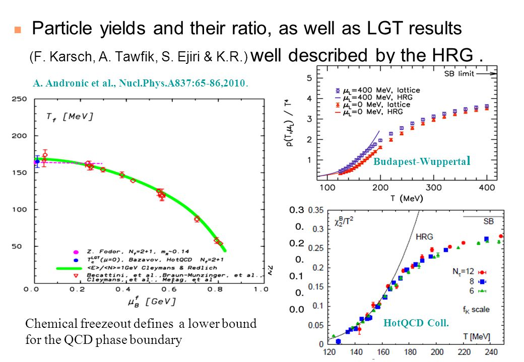 Particle yields and their ratio, as well as LGT results (F.