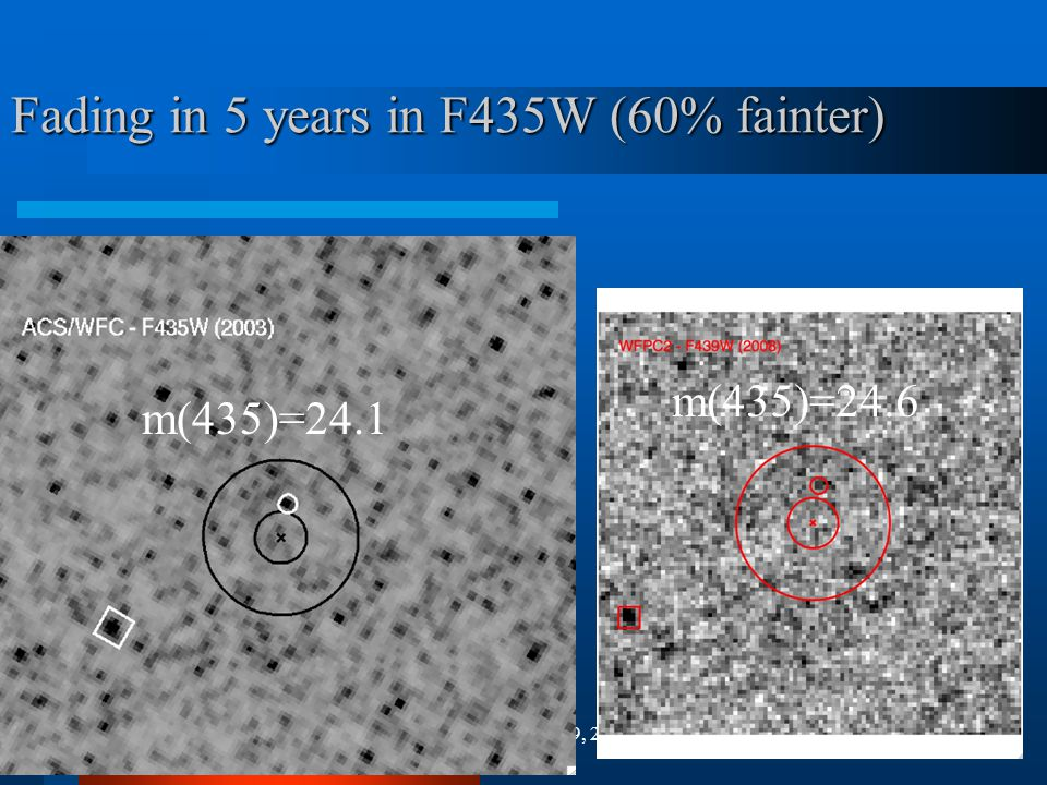 M. Shara, March 19, 2009 Fading in 5 years in F435W (60% fainter) m(435)=24.1 m(435)=24.6