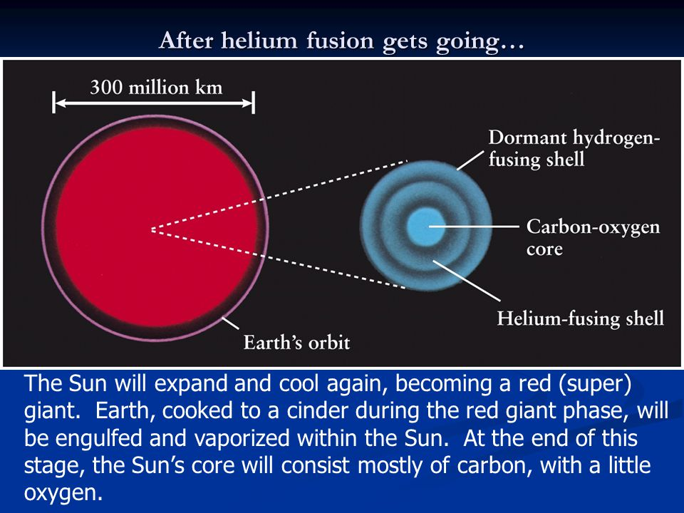 After helium fusion gets going… The Sun will expand and cool again, becoming a red (super) giant. Earth, cooked to a cinder during the red giant phase