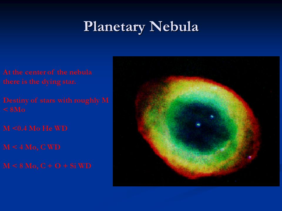 Planetary Nebula At the center of the nebula there is the dying star. Destiny of stars with roughly M < 8Mo M <0.4 Mo He WD M < 4 Mo, C WD M < 8 Mo, C