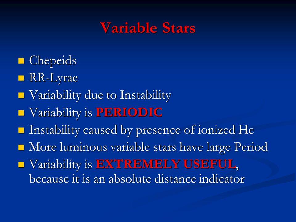 Variable Stars Chepeids Chepeids RR-Lyrae RR-Lyrae Variability due to Instability Variability due to Instability Variability is PERIODIC Variability i