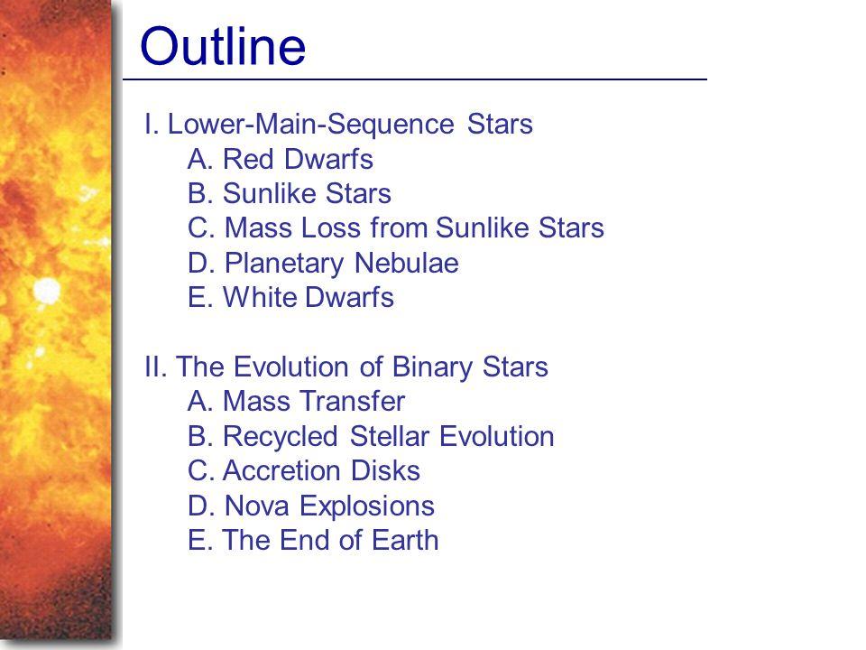 I. Lower-Main-Sequence Stars A. Red Dwarfs B. Sunlike Stars C. Mass Loss from Sunlike Stars D. Planetary Nebulae E. White Dwarfs II. The Evolution of