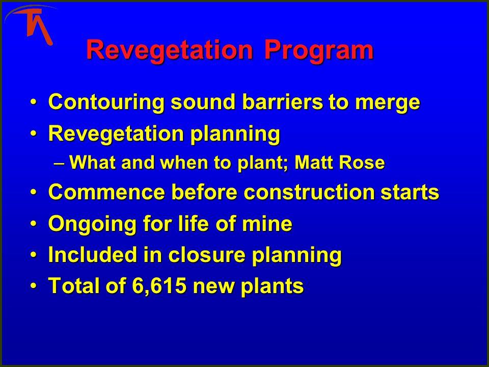 Revegetation Program Contouring sound barriers to mergeContouring sound barriers to merge Revegetation planningRevegetation planning –What and when to