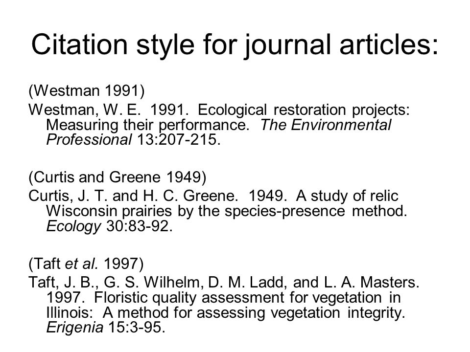Citation style for journal articles: (Westman 1991) Westman, W. E. 1991. Ecological restoration projects: Measuring their performance. The Environment