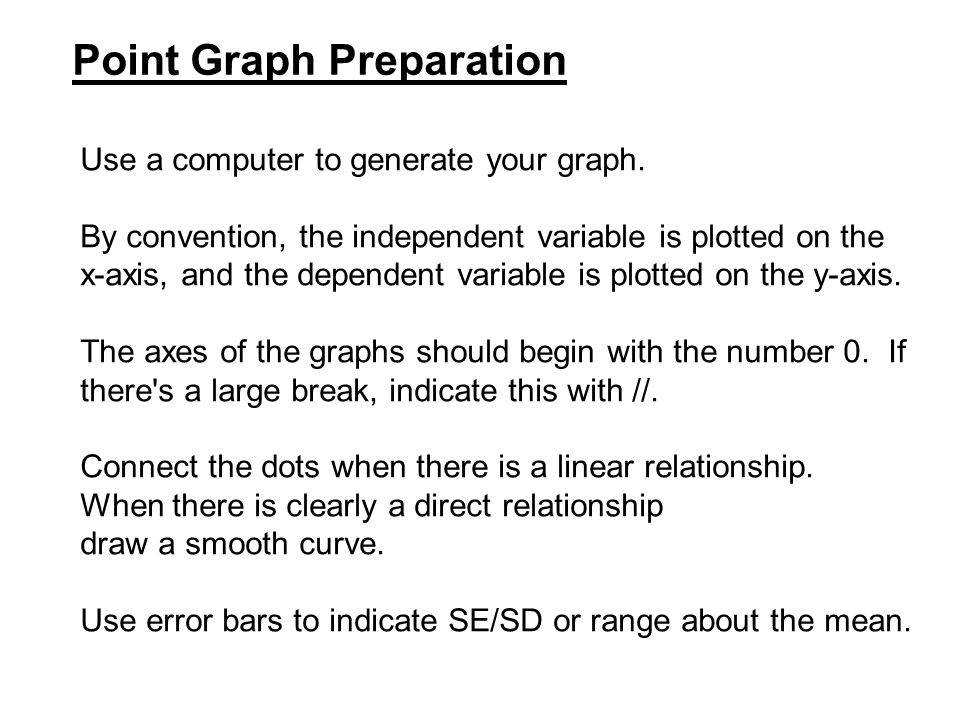 Point Graph Preparation Use a computer to generate your graph. By convention, the independent variable is plotted on the x-axis, and the dependent var