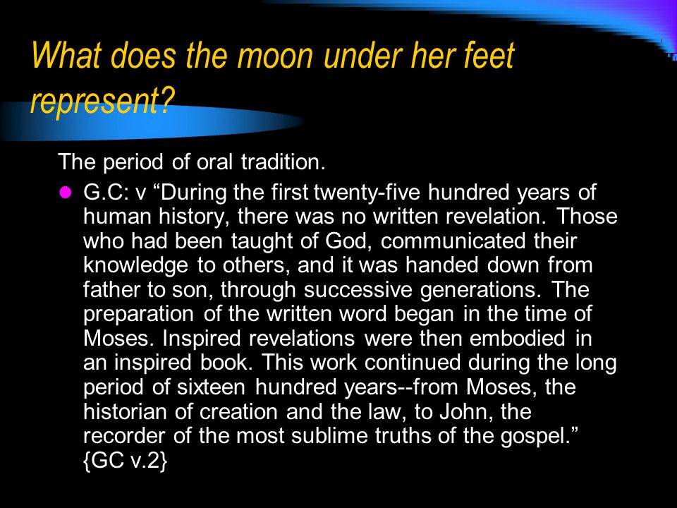 What does her crown of 12 stars represent.The Authority and Government of the church – Matt.