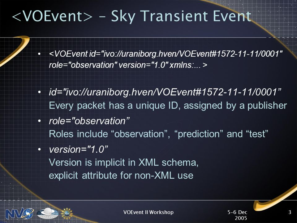 5-6 Dec 2005 VOEvent II Workshop3 – Sky Transient Event id= ivo://uraniborg.hven/VOEvent#1572-11-11/0001 Every packet has a unique ID, assigned by a publisher role= observation Roles include observation , prediction and test version= 1.0 Version is implicit in XML schema, explicit attribute for non-XML use