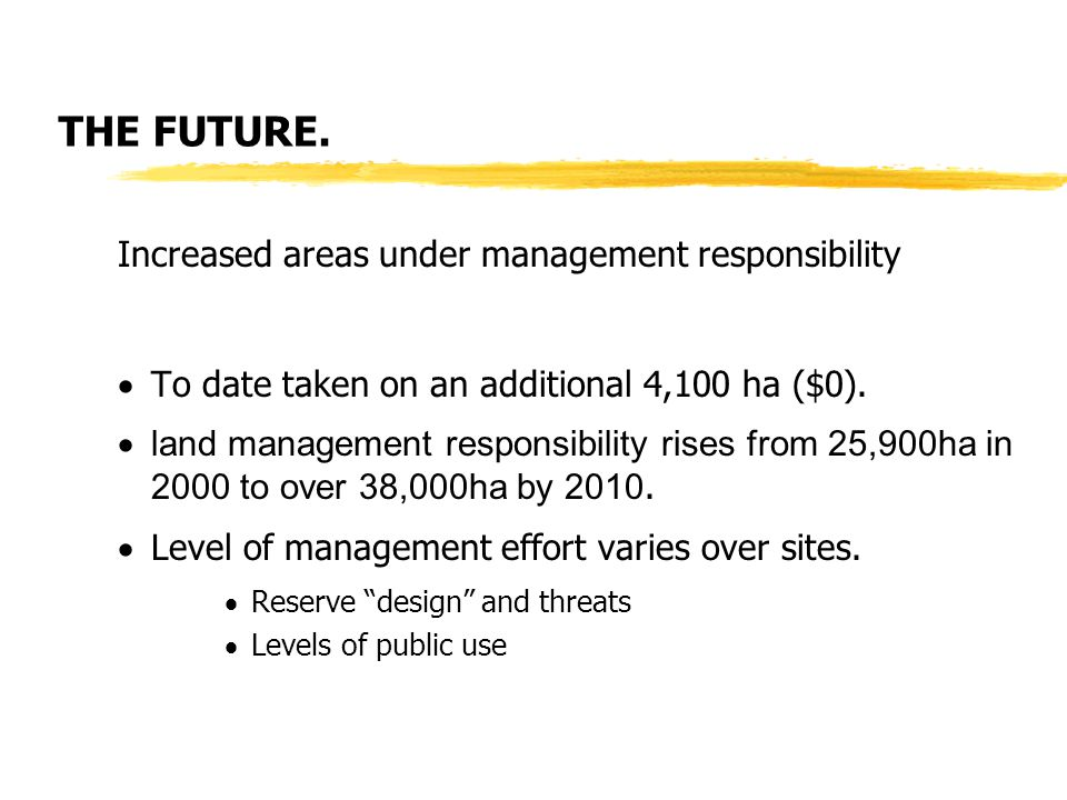 THE FUTURE. Increased areas under management responsibility  To date taken on an additional 4,100 ha ($0).  land management responsibility rises fro