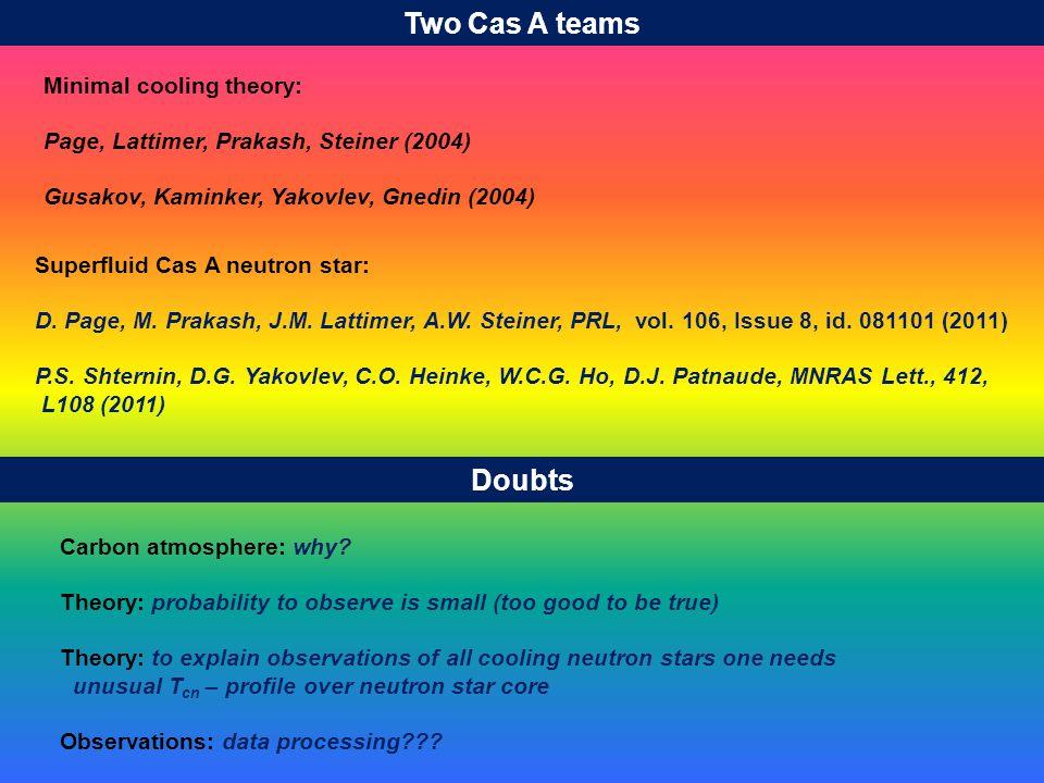 Two Cas A teams Minimal cooling theory: Page, Lattimer, Prakash, Steiner (2004) Gusakov, Kaminker, Yakovlev, Gnedin (2004) Superfluid Cas A neutron star: D.
