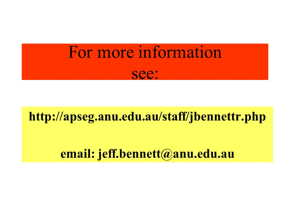 For more information see: http://apseg.anu.edu.au/staff/jbennettr.php email: jeff.bennett@anu.edu.au
