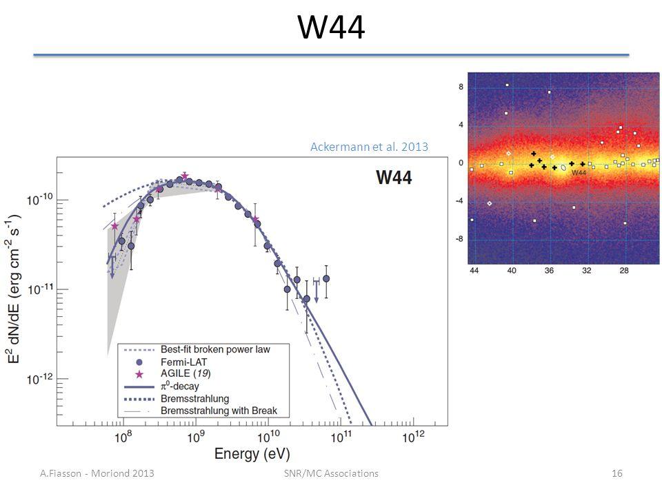 W44 A.Fiasson - Moriond 2013SNR/MC Associations16 Ackermann et al. 2013