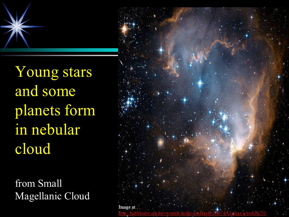 Young stars and some planets form in nebular cloud from Small Magellanic Cloud Image at http://hubblesite.org/newscenter/archive/releases/2007/04/imag
