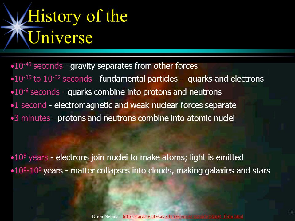 History of the Universe 10 -43 seconds - gravity separates from other forces 10 -35 to 10 -32 seconds - fundamental particles - quarks and electrons 1