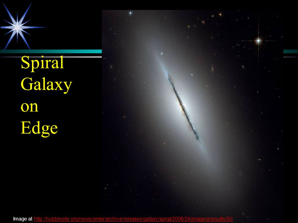 Spiral Galaxy on Edge Image at http://hubblesite.org/newscenter/archive/releases/galaxy/spiral/2006/24/image/a/results/50/http://hubblesite.org/newsce