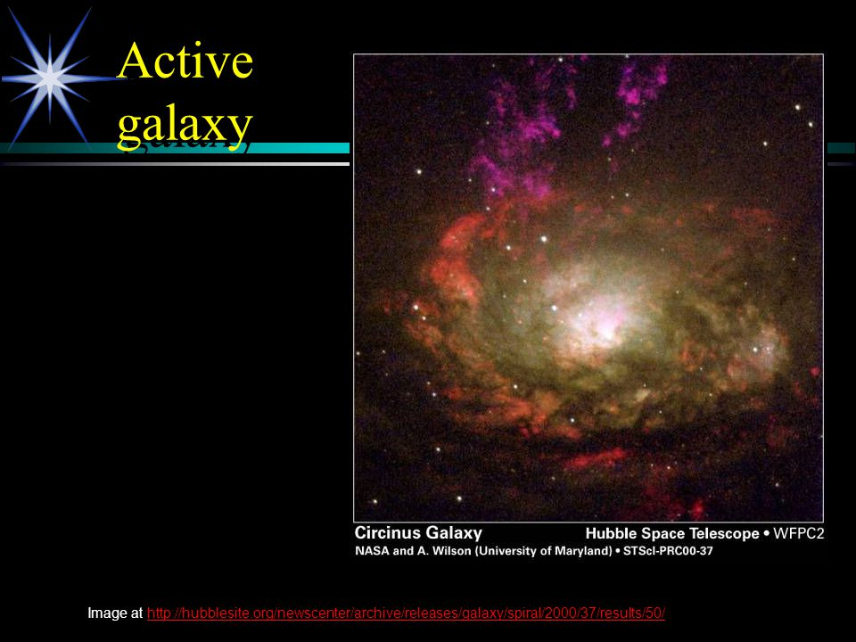 Active galaxy Image at http://hubblesite.org/newscenter/archive/releases/galaxy/spiral/2000/37/results/50/http://hubblesite.org/newscenter/archive/rel