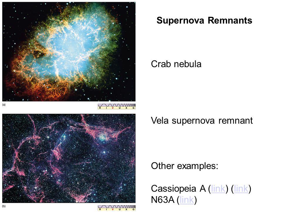 Supernova Remnants Vela supernova remnant Other examples: Cassiopeia A (link) (link)link N63A (link)link Crab nebula
