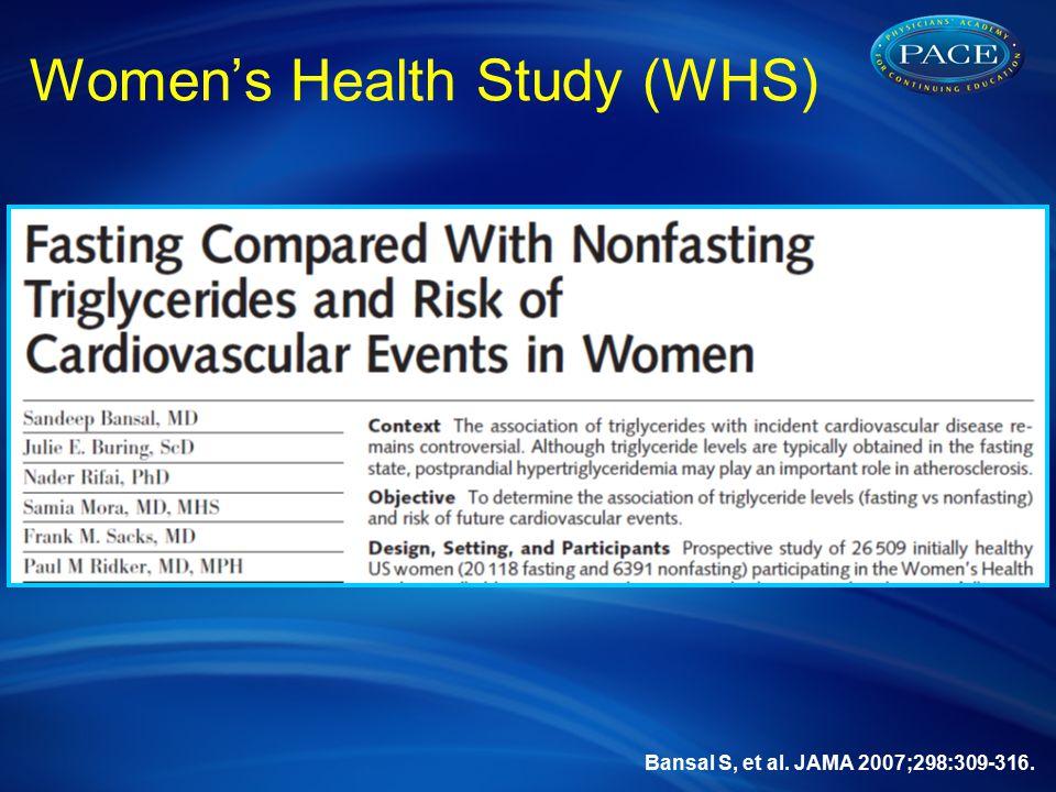 Bansal S, et al. JAMA 2007;298:309-316. Women's Health Study (WHS)