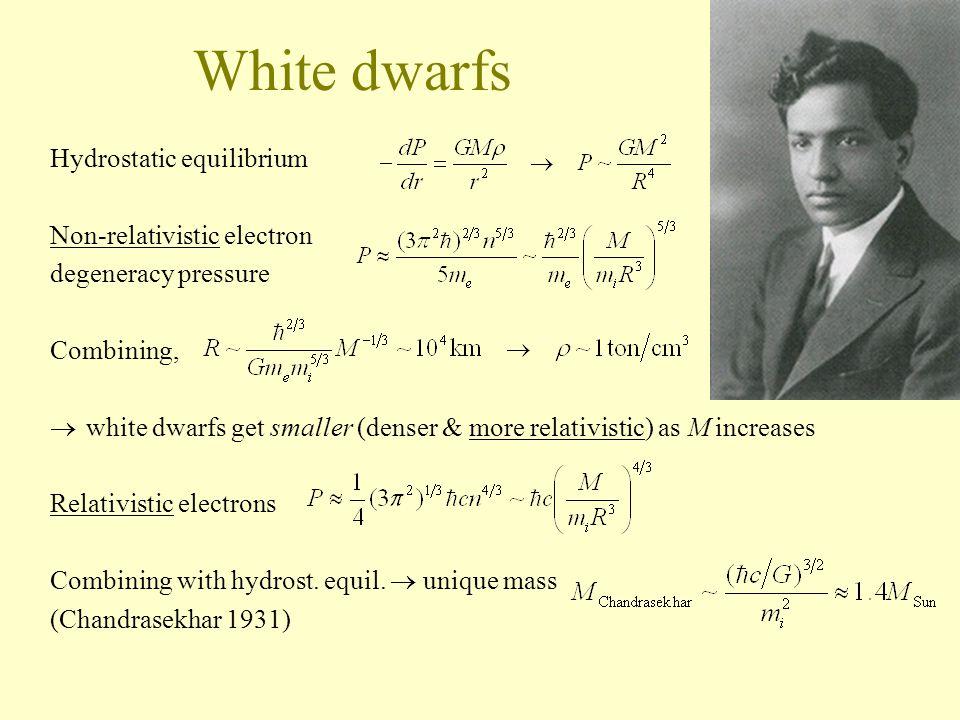 White dwarfs Hydrostatic equilibrium Non-relativistic electron degeneracy pressure Combining,  white dwarfs get smaller (denser & more relativistic) as M increases Relativistic electrons Combining with hydrost.