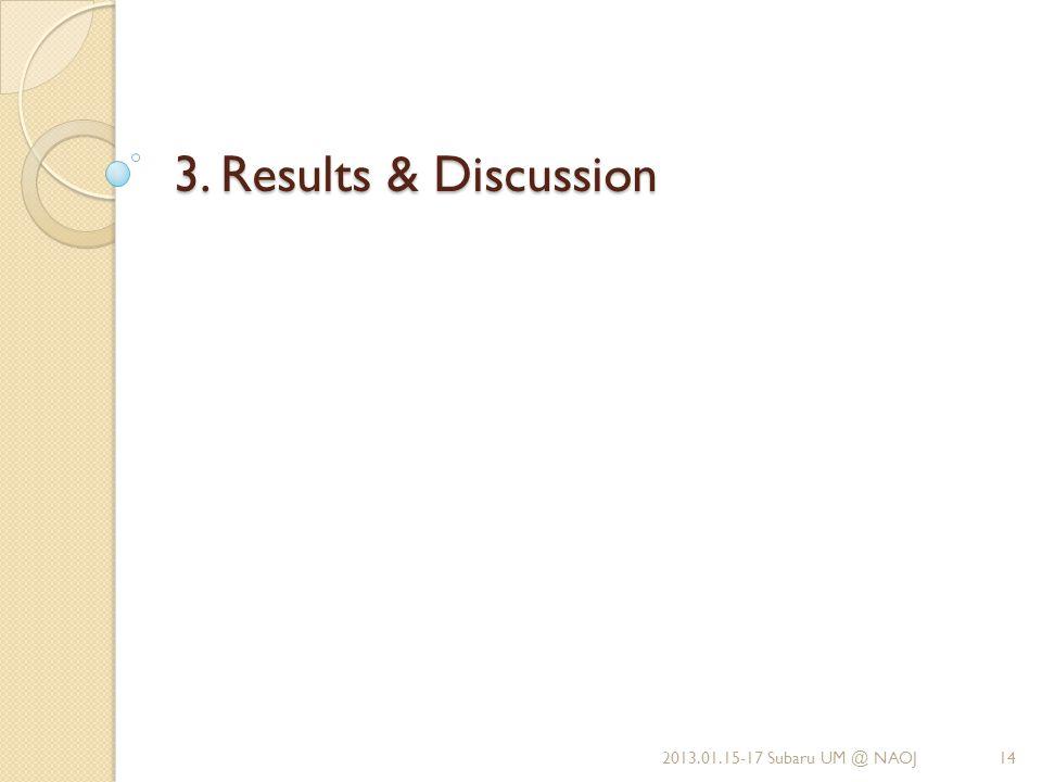 3. Results & Discussion 2013.01.15-17 Subaru UM @ NAOJ14
