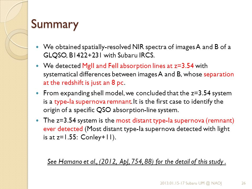 Summary We obtained spatially-resolved NIR spectra of images A and B of a GLQSO, B1422+231 with Subaru IRCS.