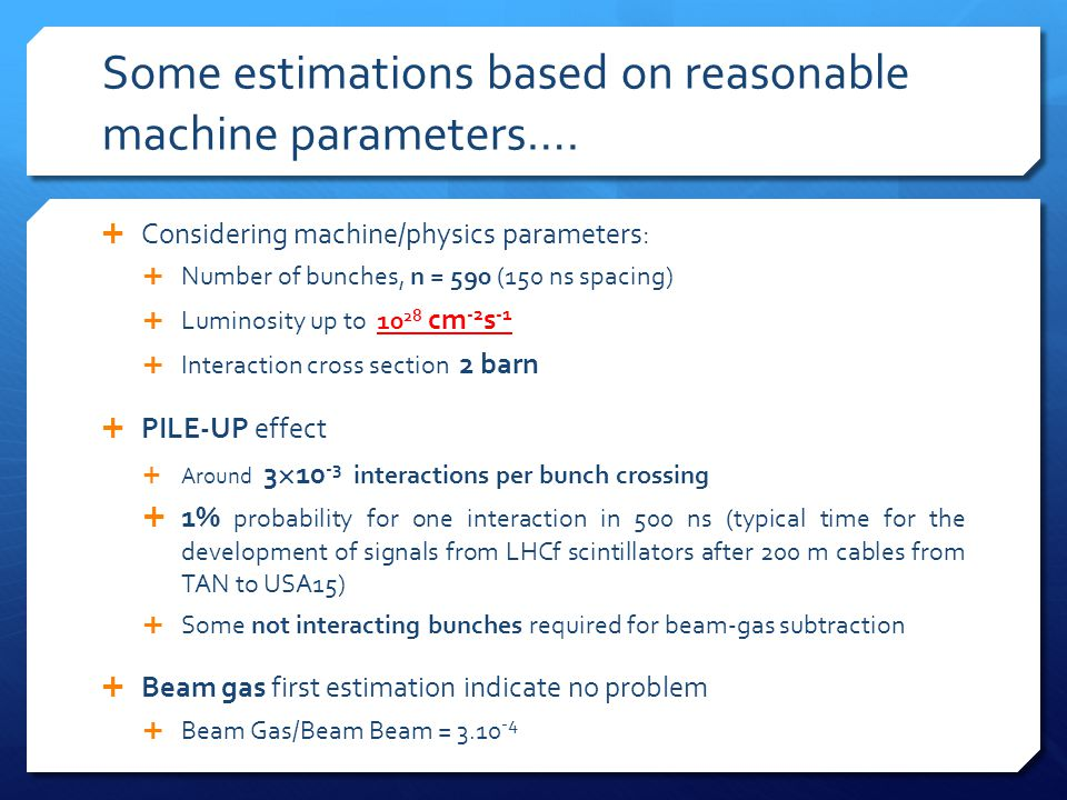 Some estimations based on reasonable machine parameters….  Considering machine/physics parameters:  Number of bunches, n = 590 (150 ns spacing)  Lu
