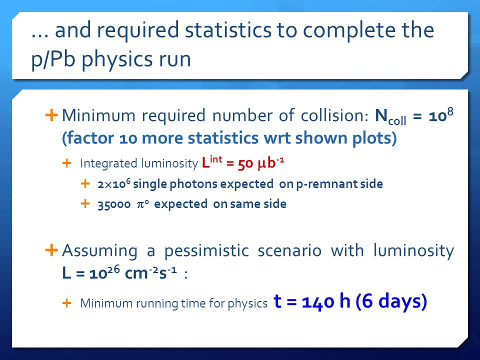  Minimum required number of collision: N coll = 10 8 (factor 10 more statistics wrt shown plots)  Integrated luminosity L int = 50  b -1  2  10 6 single photons expected on p-remnant side  35000  0 expected on same side  Assuming a pessimistic scenario with luminosity L = 10 26 cm -2 s -1 :  Minimum running time for physics t = 140 h (6 days) … and required statistics to complete the p/Pb physics run