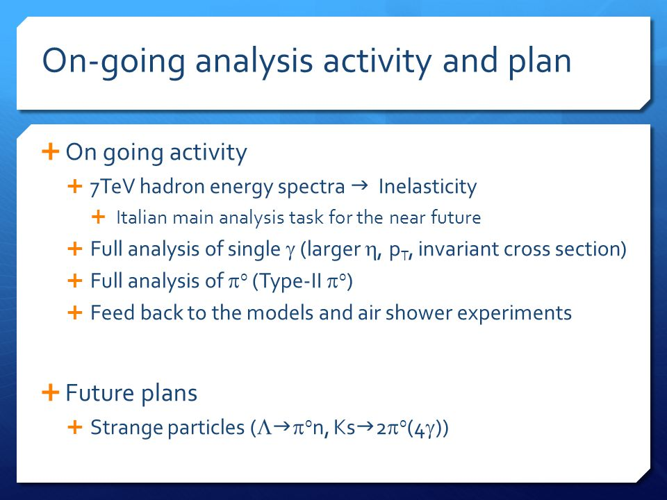 On-going analysis activity and plan  On going activity  7TeV hadron energy spectra  Inelasticity  Italian main analysis task for the near future 
