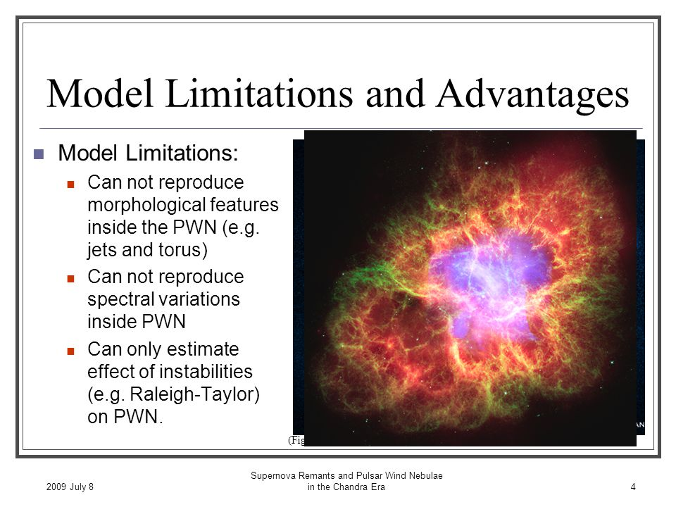 2009 July 8 Supernova Remants and Pulsar Wind Nebulae in the Chandra Era4 Model Limitations and Advantages Model Limitations: Can not reproduce morphological features inside the PWN (e.g.