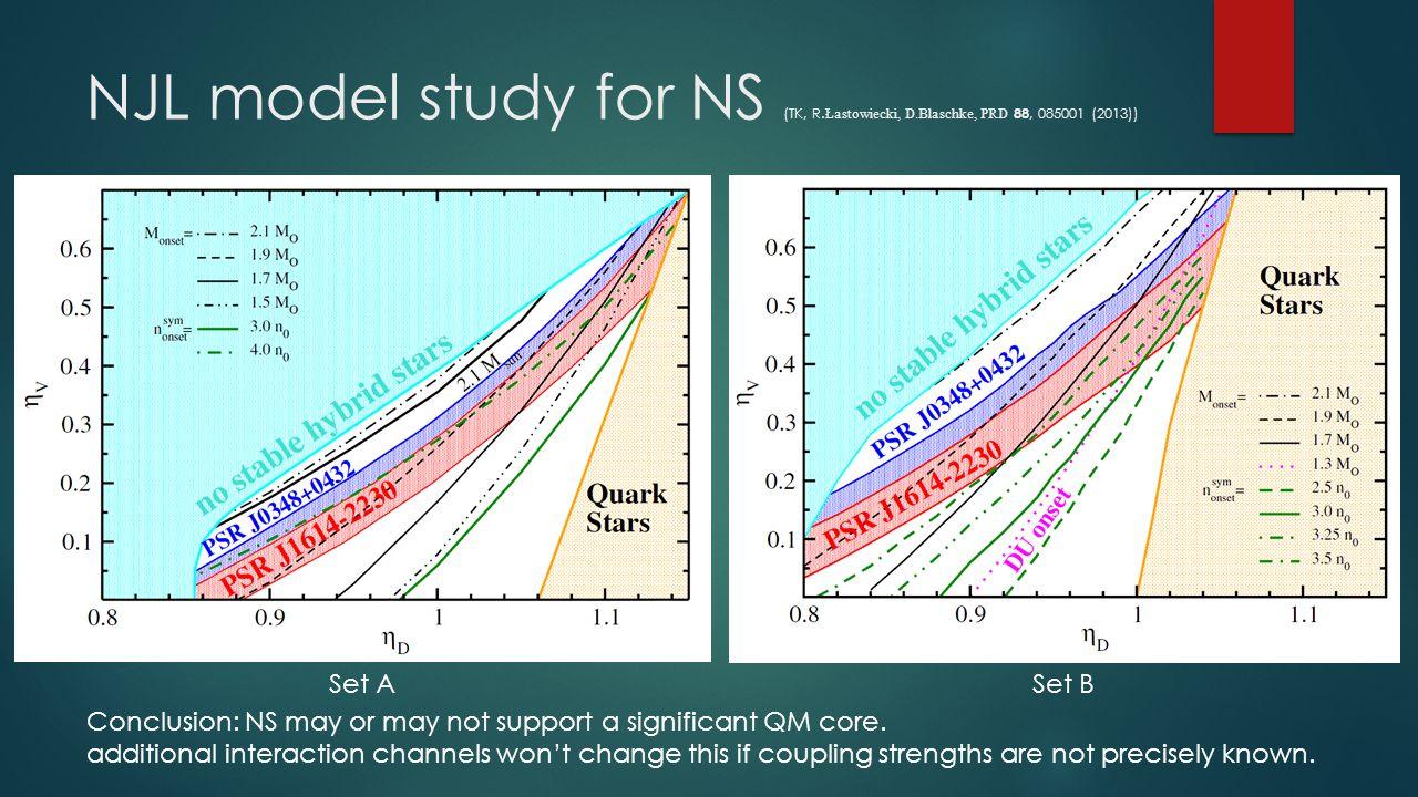 NJL model study for NS (TK, R.