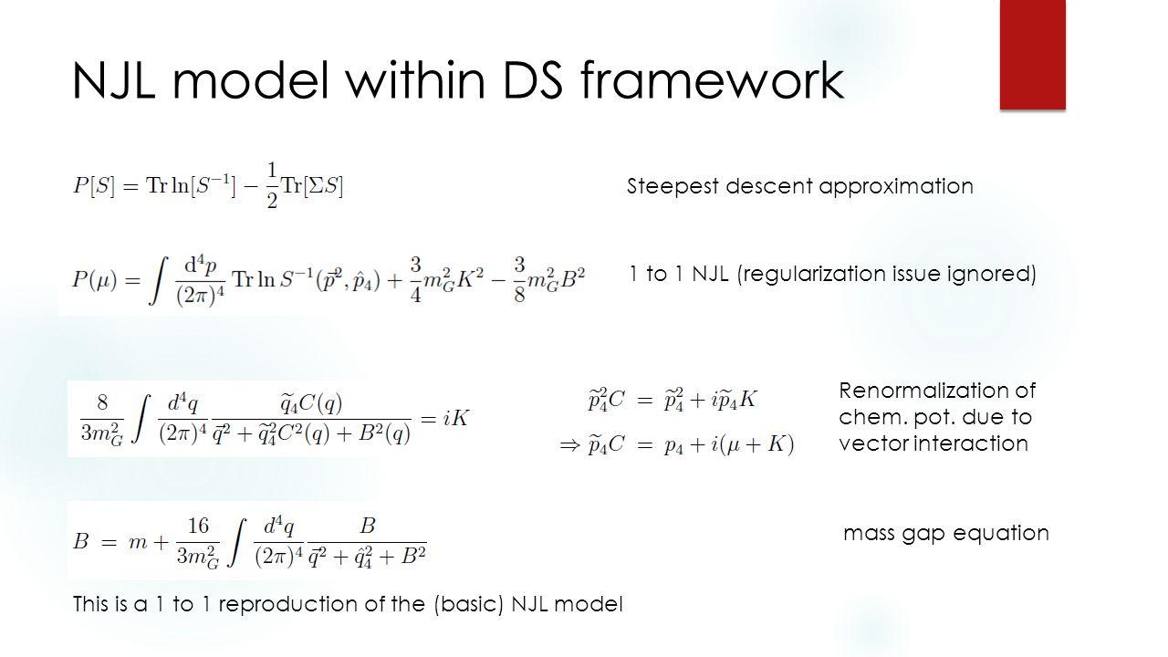 NJL model within DS framework Renormalization of chem.
