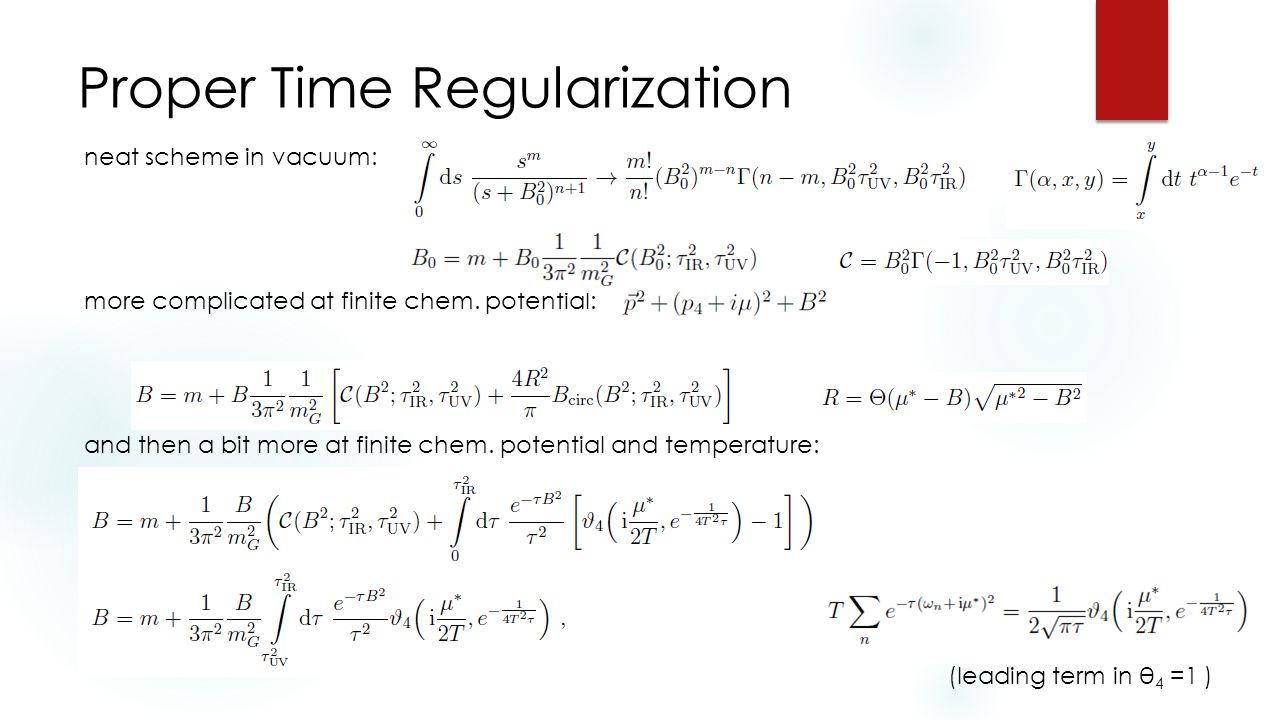 Proper Time Regularization neat scheme in vacuum: more complicated at finite chem.