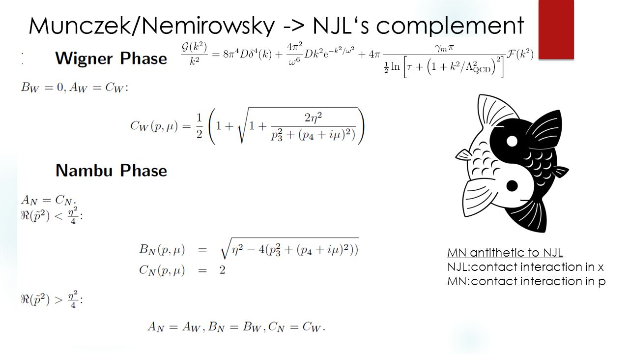 Munczek/Nemirowsky -> NJL's complement MN antithetic to NJL NJL:contact interaction in x MN:contact interaction in p