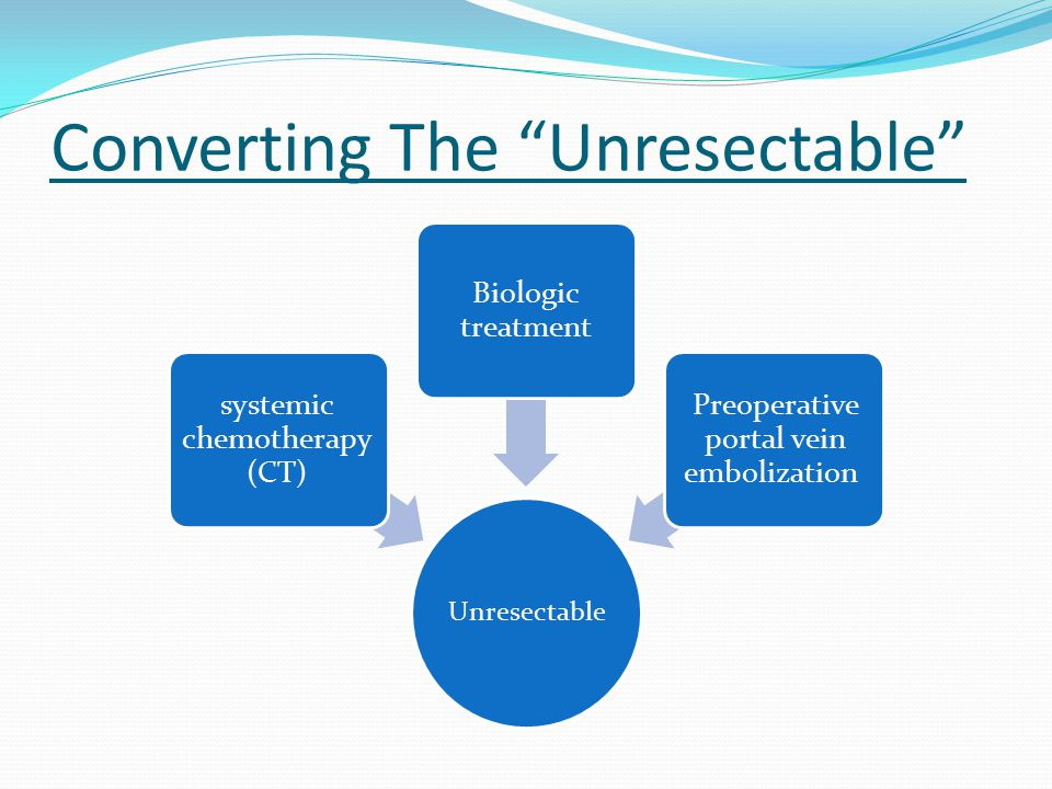 Converting The Unresectable Unresectable systemic chemotherapy (CT) Biologic treatment Preoperative portal vein embolization
