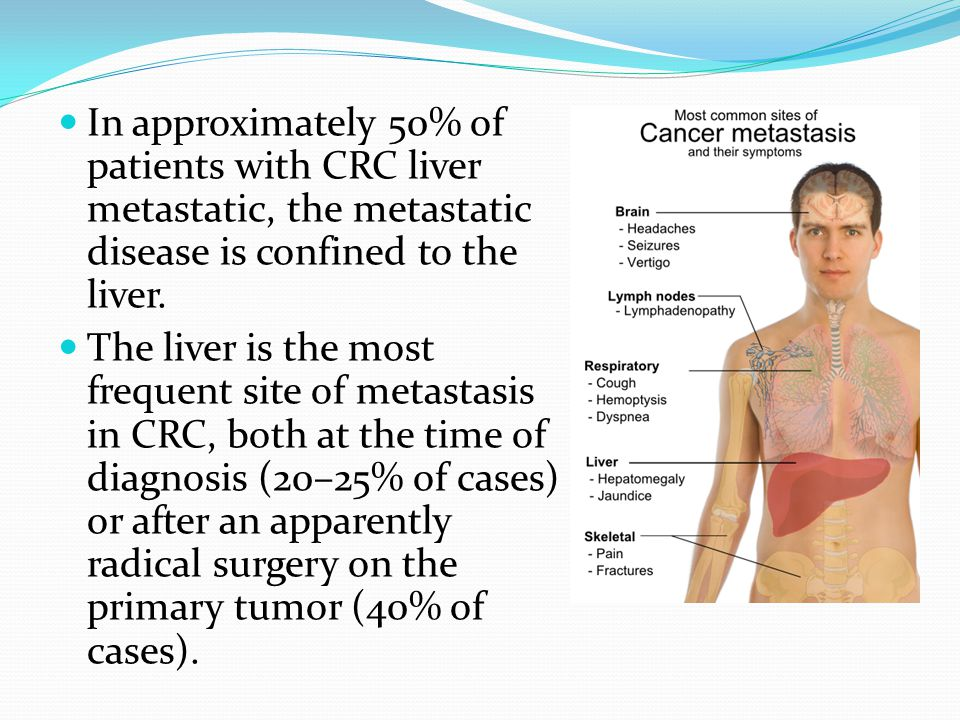 In approximately 50% of patients with CRC liver metastatic, the metastatic disease is confined to the liver.