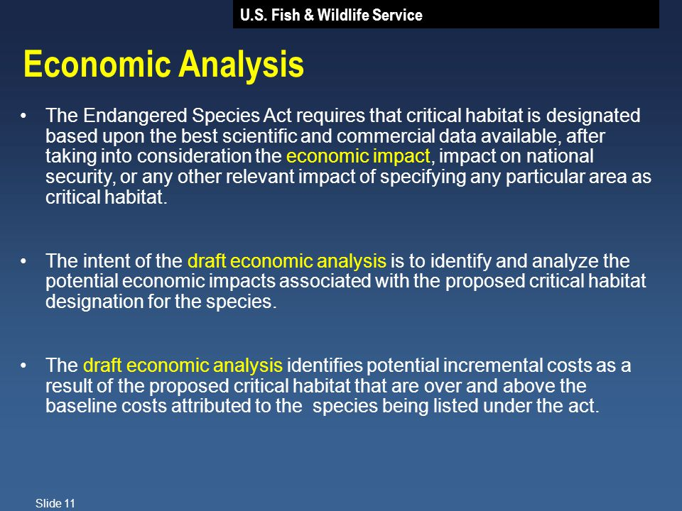 U.S. Fish & Wildlife Service Slide 11 Economic Analysis The Endangered Species Act requires that critical habitat is designated based upon the best sc