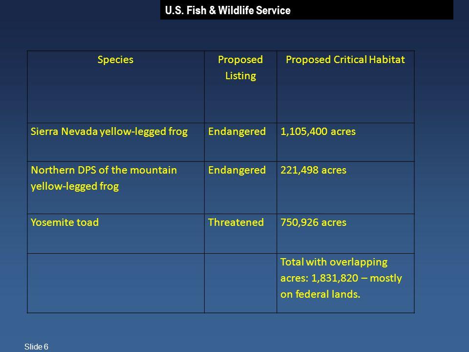U.S. Fish & Wildlife Service Slide 6 Species Proposed Listing Proposed Critical Habitat Sierra Nevada yellow-legged frog Endangered1,105,400 acres Nor
