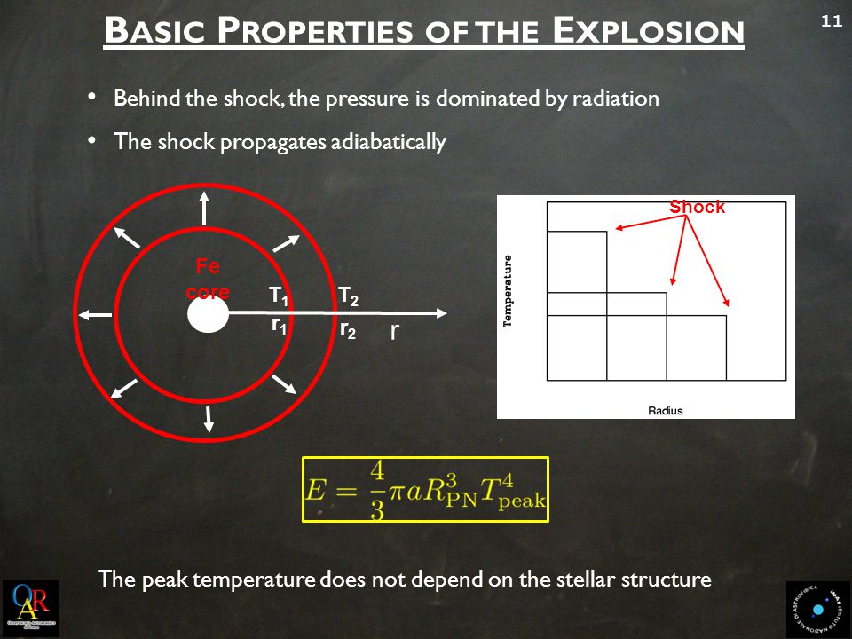 11 B ASIC P ROPERTIES OF THE E XPLOSION Behind the shock, the pressure is dominated by radiation The shock propagates adiabatically r T1T1 Fe core r2r2 T2T2 r1r1 Shock The peak temperature does not depend on the stellar structure