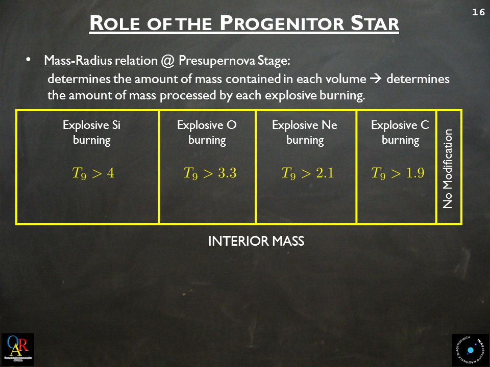 16 R OLE OF THE P ROGENITOR S TAR Mass-Radius relation @ Presupernova Stage: determines the amount of mass contained in each volume  determines the a