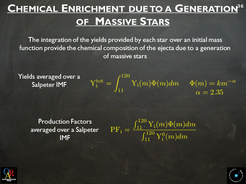 36 C HEMICAL E NRICHMENT DUE TO A G ENERATION OF M ASSIVE S TARS Yields averaged over a Salpeter IMF The integration of the yields provided by each star over an initial mass function provide the chemical composition of the ejecta due to a generation of massive stars Production Factors averaged over a Salpeter IMF