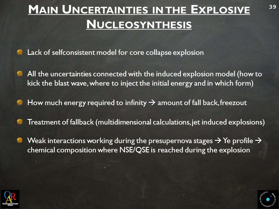 39 M AIN U NCERTAINTIES IN THE E XPLOSIVE N UCLEOSYNTHESIS All the uncertainties connected with the induced explosion model (how to kick the blast wave, where to inject the initial energy and in which form) How much energy required to infinity  amount of fall back, freezout Treatment of fallback (multidimensional calculations, jet induced explosions) Weak interactions working during the presupernova stages  Ye profile  chemical composition where NSE/QSE is reached during the explosion Lack of selfconsistent model for core collapse explosion