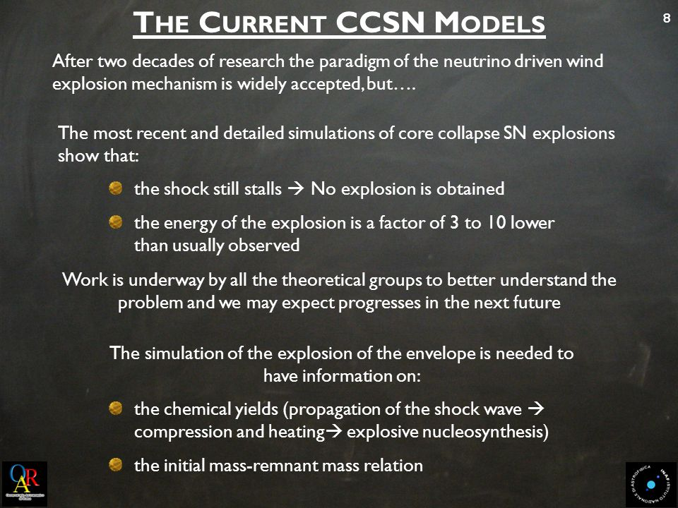 8 The most recent and detailed simulations of core collapse SN explosions show that: the shock still stalls  No explosion is obtained the energy of t