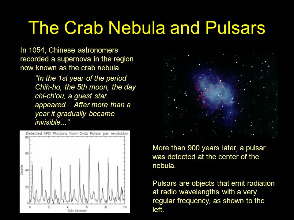 The Crab Nebula and Pulsars In 1054, Chinese astronomers recorded a supernova in the region now known as the crab nebula.