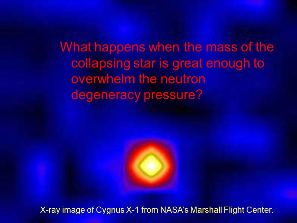 What happens when the mass of the collapsing star is great enough to overwhelm the neutron degeneracy pressure.