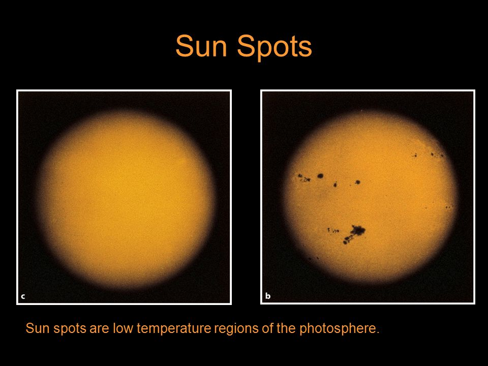Sun Spots Sun spots are low temperature regions of the photosphere.