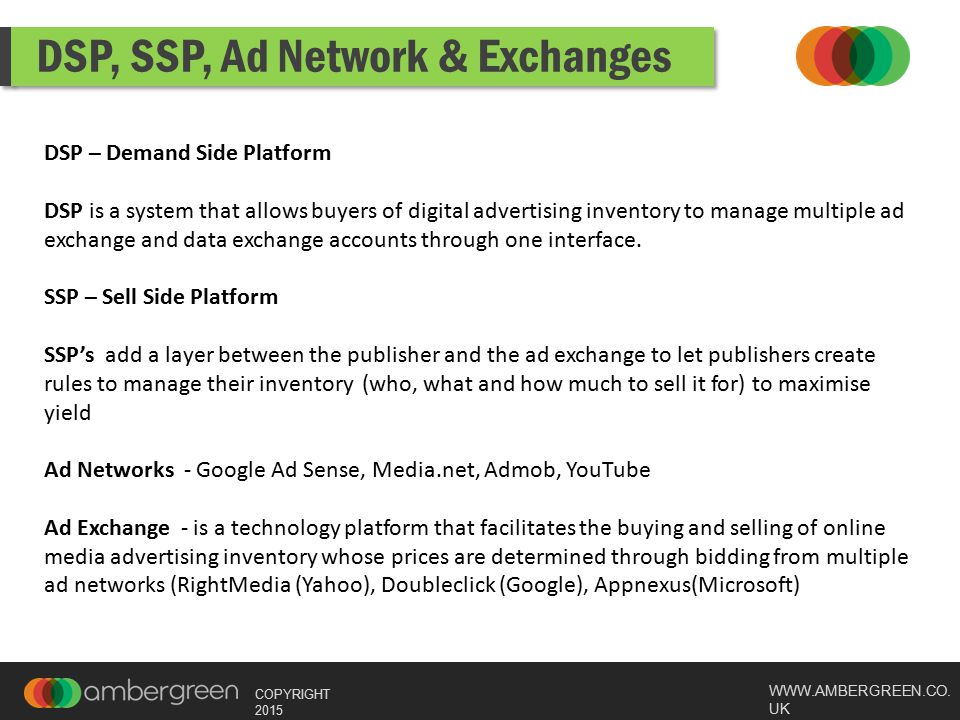 WWW.AMBERGREEN.CO. UK COPYRIGHT 2015 DSP, SSP, Ad Network & Exchanges DSP – Demand Side Platform DSP is a system that allows buyers of digital adverti