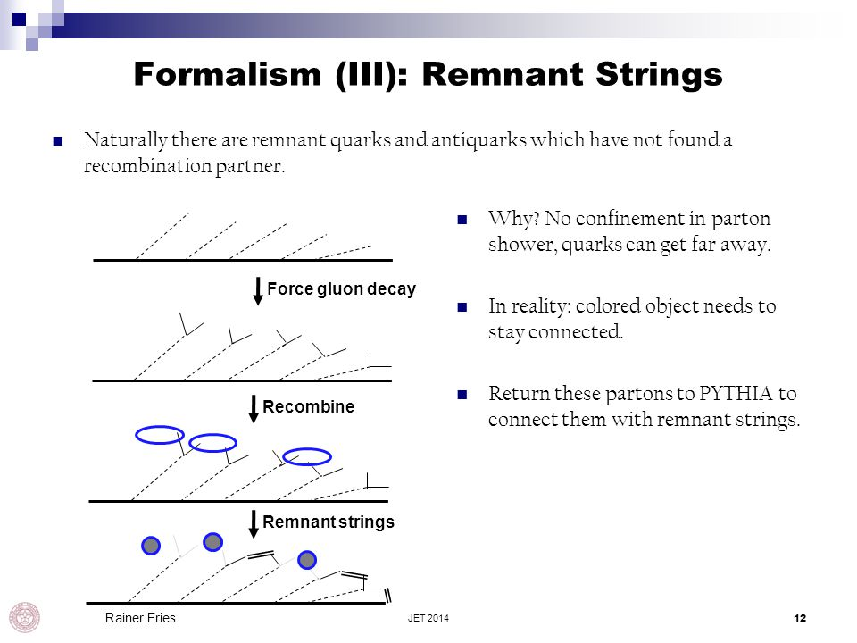 Formalism (III): Remnant Strings Naturally there are remnant quarks and antiquarks which have not found a recombination partner. JET 201412 Rainer Fri