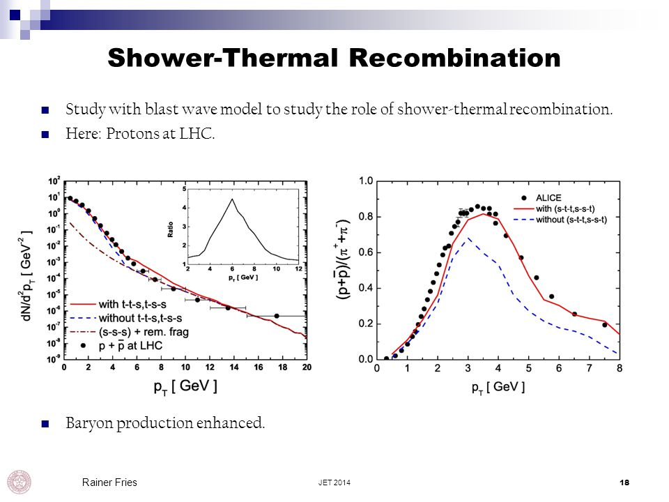 Shower-Thermal Recombination Study with blast wave model to study the role of shower-thermal recombination. Here: Protons at LHC. Baryon production en