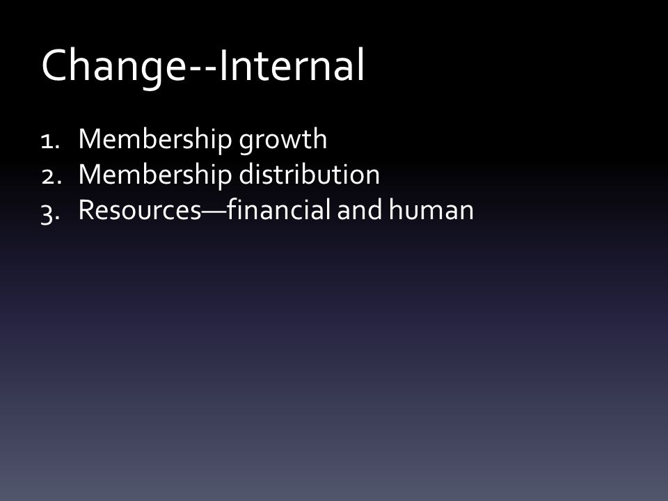 Change--Internal 1.Membership growth 2.Membership distribution 3.Resources—financial and human